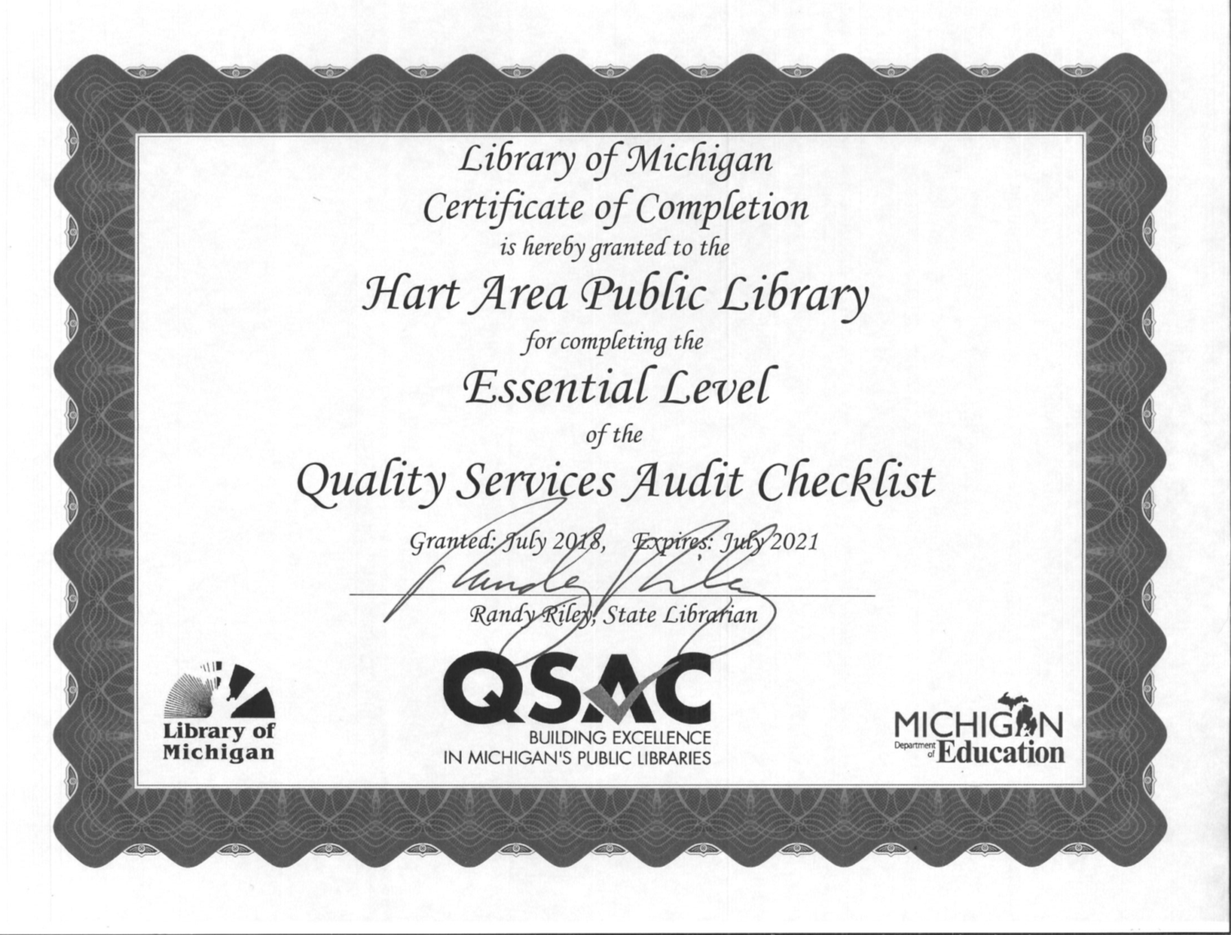 Library Of Michigan Qsac Certificationg